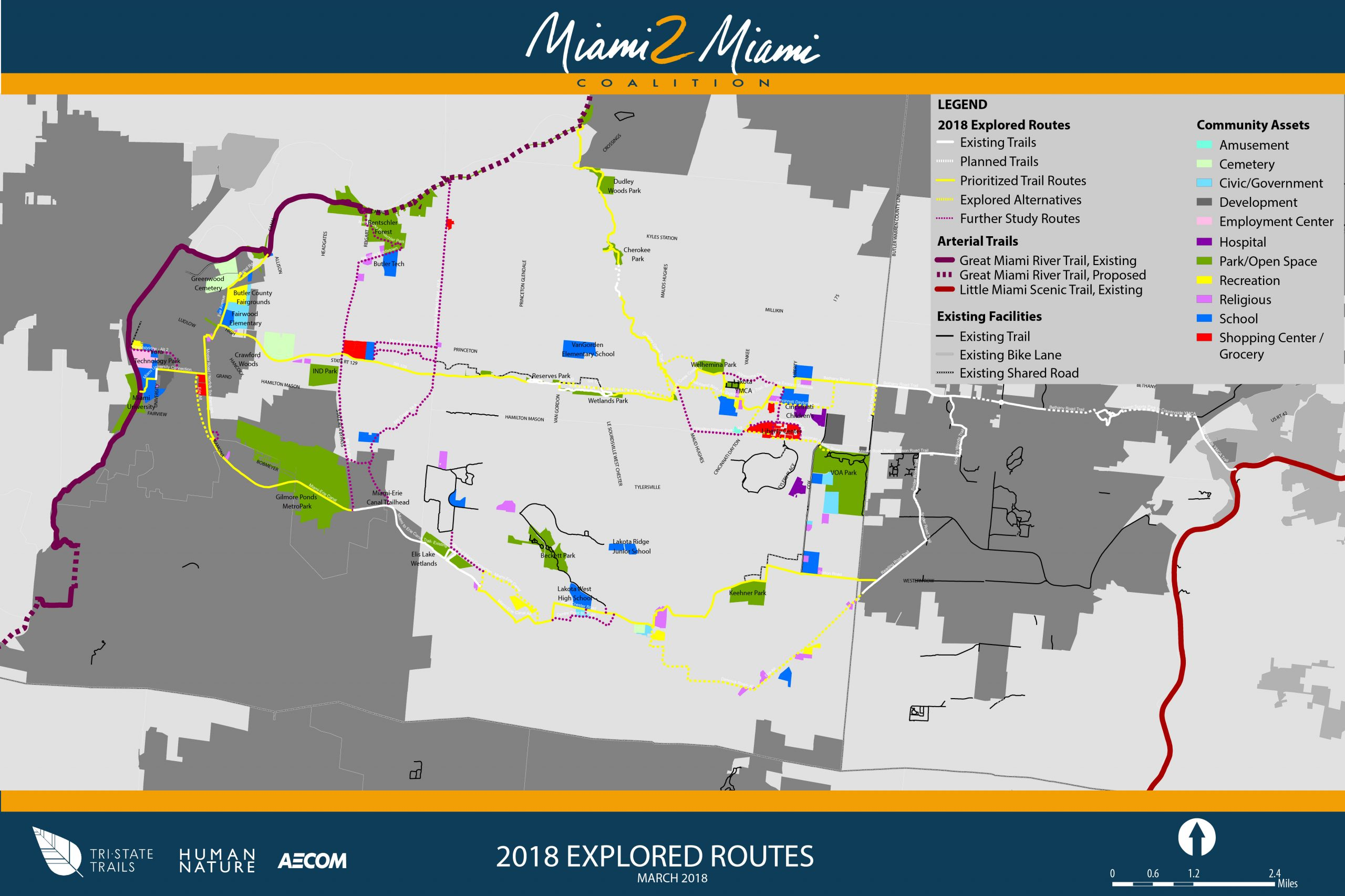 M-to-M Proposed Path is in Yellow Shows Routes in West Chester and Liberty